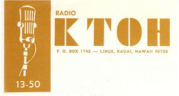 image of Hawaii Radio Station KTOH letterhead