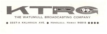 image of Hawaii Radio Station KTRG letterhead