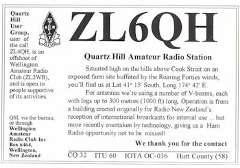 image of ZL6QH Quartz Hill Amateur Radio Station