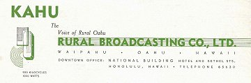 Letterhead from The Voice of Rural Oahu, KAHU