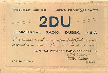 2DU Dubbo issued this confirmation of reception in 1945
