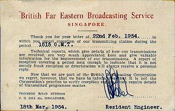 BFEBS Singapore acknowledgement card