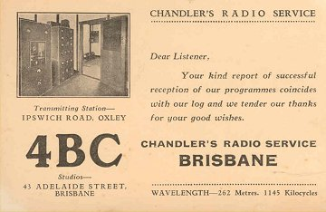Card from 4BC Brisbane 1935