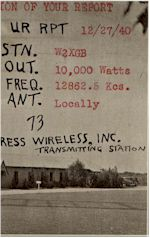 image of W2XGB Hicksville, Long Island,  NY listener card, 1940