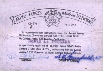image of AFRTS Operator Certificate issued to Dave Perkins, KMTH